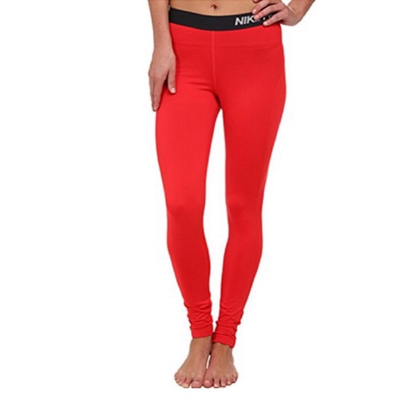 classic style cheap sale 50% off •Nike Pro• Women's Red Nike Performance Leggings